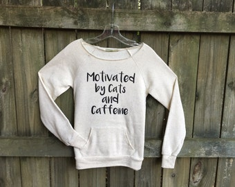 Cat shirt, off shoulder, sweatshirt women, cat sweater, Cats and Caffeine, womens, white, coffee, girlfriend gift, cat lover gift, for her