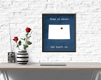 UNFRAMED Colorado print, Home is where the heart is quote, colorado heart print, colorado wall art, wall decor, colorado decor, home decor,