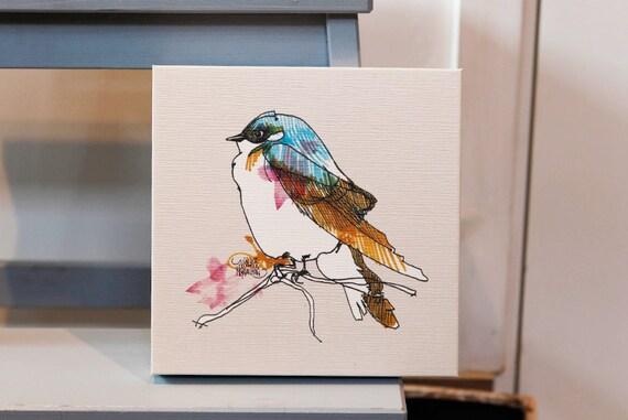 Canvas, Blue Bird, Art print, boho home decor.