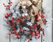 Snowman Wreath, Christmas Wreath, Holiday Door Wreath, Primitive Winter Decor, Country Christmas Wreath, Wreath for Holidays, Red Berries