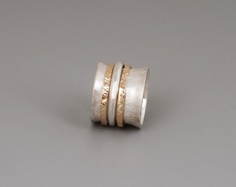 Wide Silver Ring, Spinning Ring, Meditation Ring, Sterling Silver Ring, 14k Gold Ring, Gold Silver Ring, Solid 14k gold Spinner Ring