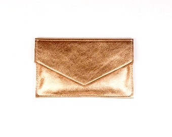 MARY Copper Leather Clutch. Rosegold Leather Clutch. Leather Envelope Clutch. Small Leather Clutch