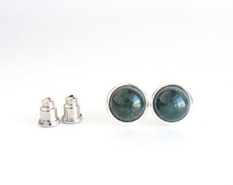 Green agate studs, stud earrings, natural agate, natural stone stud earrings, gemstone earrings, gemstone post earrings, womens jewelry, 8mm
