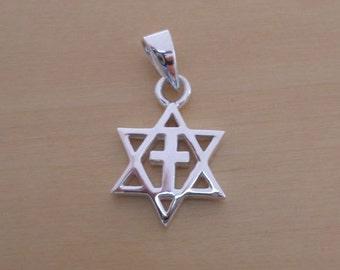 925 Sterling Silver Solid Star of David Cross Pendant