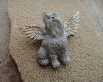 Vintage Beautiful Dog Angel Dog PIN Brooch Pendant Dog With Wings Angel