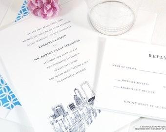 Jacksonville Florida Skyline Wedding Invitation Package Sold In Sets Of 10 Invitations RSVP