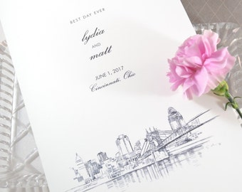 Cincinnati Skyline Wedding Programs (set of 25 cards)