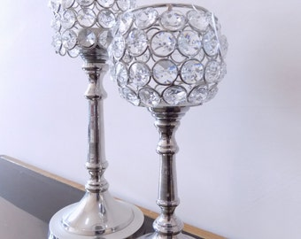 Crystal Votive Tealight Candle Holders Wedding Centerpieces Candelabra 2 Pcs Set