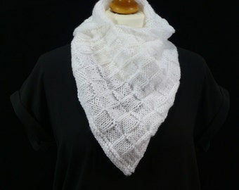 Hand made item - cowl front drape white knitted scarf in a soft acrylic wool blend.