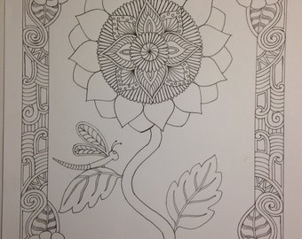 Botanical Sunflower w/ Dragonfly Coloring Page
