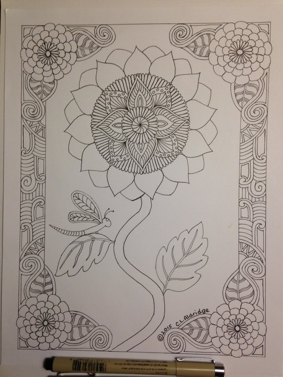 Botanical Art Coloring Book : Botanical Sunflower w/ Dragonfly Coloring Page