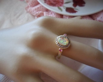 Antique vintage 9ct gold Opal ring with Rubies size 9 gold stamped 375 9 ct