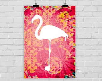 print poster TROPICAL FLAMINGO