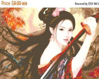 ON SALE Geisha samurai - 496 x 279 stitches - Cross Stitch Pattern Pdf - INSTANT Download - B137