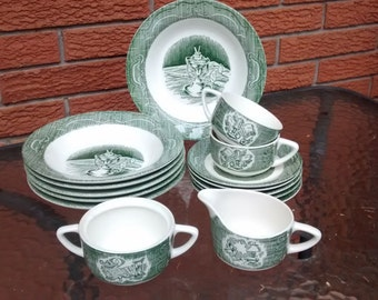 The OLD CURIOSITY SHOP Green Royal China Lot of 15pcs Soup Bowls Cream Sugar Cup Saucer