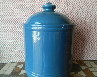 Blue Cookie Jar Canister With Lid