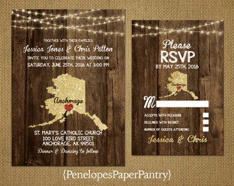 State of Alaska Destination Wedding Invitations,Rustic,Gold Glitter Print,Strands of Lights,Red Heart,Opt RSVP,Customizable With Envelopes