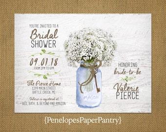 Rustic Bridal Shower Invitation,Baby's Breath Bouquet,Mason Jar,Twine Bow,Vintage Key,White Wood,Customizable,Includes White Envelopes