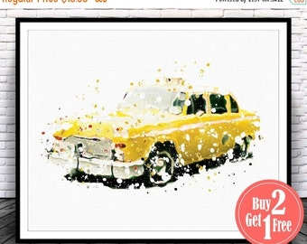 SALE: Yellow Cab Print, Yellow Cab Poster, Yellow Taxi Poster, Yellow Taxi Print, Car Poster, Car Print, Car Wall Art, Taxi Driver Print