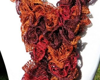Rust Hand Knit  Scarf - Hand Knitted by Me - Ruffle Scarf -  Orange Rust Ruffle  Scarf - Womens Ruffle Scarf - brick rust wine