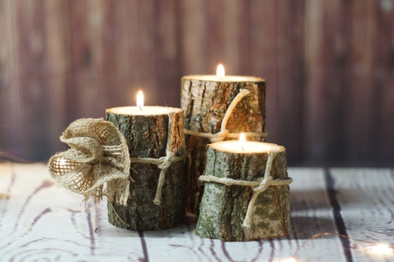 Log candle holder rustic tealight by