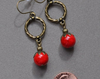 Red Sponge Coral and Antique Bronze Earrings
