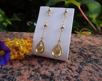 Earrings with genuine citrine in 585-er silver! Beautiful, long earrings