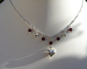 Silver necklace with heart and Crystal, sterling silver, very appart