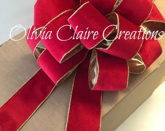 Christmas Tree Bow or Holiday Wreath Bow. Decorate your Fireplace Mantle or as Staircase Accent. Red Velvet Ribbon with Gold Leme Lining.
