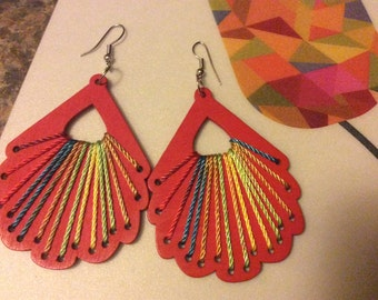 Wooden costume  colourful earrings ,