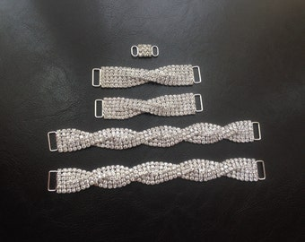 Set of 5 Rhinestone Crystals Bikini Connectors