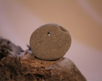 2-Holey Beach Stone-Grey/Gold-Beach Rock with Hole-Holey Beach Rock-Mermaid-Surfer-Island-Pendant Stone-Craft Supply-Teacher Supply-Item#208