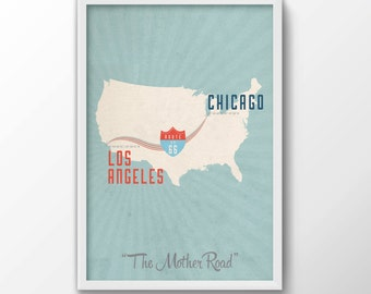 Route 66 Print - iconic, map, travel, route, souvenir, chicago, USA, gift for him, gift for her, free shipping, gift, mother road