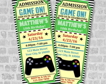 Video Games Party Ticket Invitations, Gaming Birthday Party Gaming Ticket Invites, Vintage Style Tickets, Ticket Invitation, Custom Video