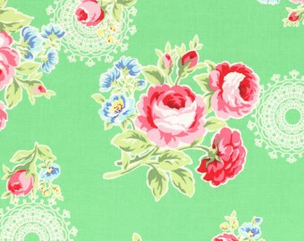 Flower Sugar Green Bouquets and Doilies fabric from Lecien