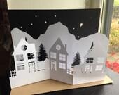 DIY Papercutting Christmas Advent Village Scene Diorama