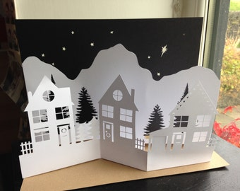 DIY Papercutting Christmas Advent Village Scene Diorama
