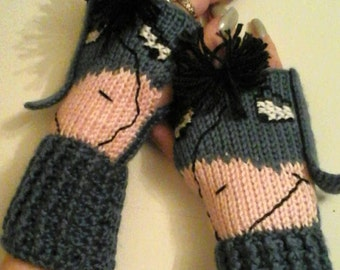 Fingerless Gloves Wrist Warmers Eeyore Adult Sizes
