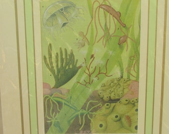 Vintage Mounted Sea Life/Marine Print - Jellyfish and Seaweed