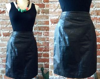 Vintage Black Leather High Waist Pencil Skirt, Byrnes & Baker, Size 8