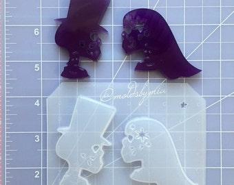 ON SALE Dia de los Muertos couple flexible plastic resin chocolate mold set