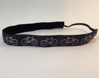 Cycle Headband- Bike Headband-  Bicyle Headband- Black- Pink- 7/8 inch headband-  Sport Headband- nonslip- no slip- triathlon headband