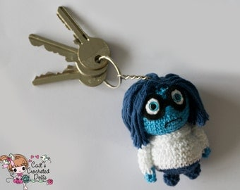 Crocheted Disney Inside Out Sadness keychain