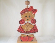 Plaid Gingerbread, Item #FPH69, Paper Towel Holder with Interchangeable Inserts, ByBrendasHand, Pamela House, Gingerbread Decor