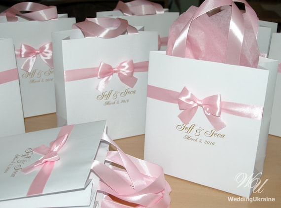 ... Pink and GoldElegant Custom Gift Paper BagWeddings Gift Favors