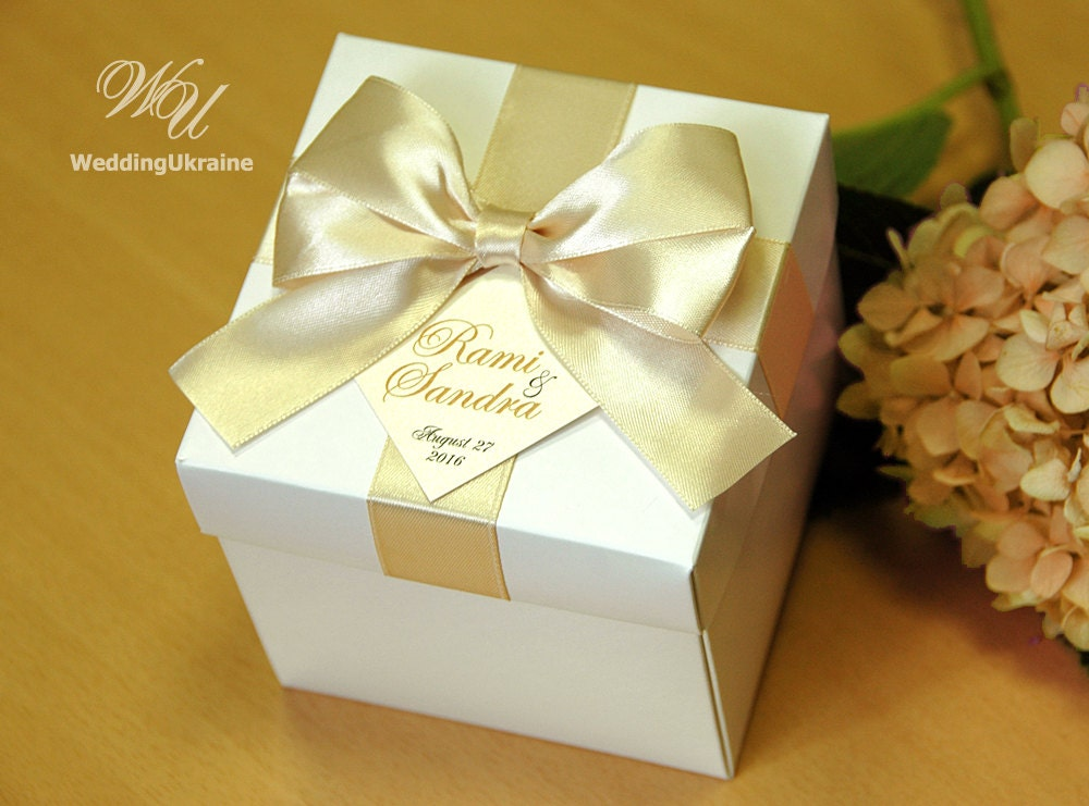 Wedding Gift Boxes: Champagne Wedding Gifts Boxes With Satin Ribbon Bow And Names