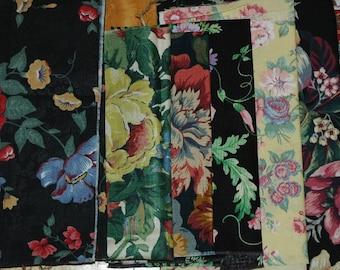 Cotton Fabric Remnant Bundle, Destash, Floral Prints