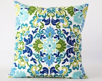 Blue pillow, blue green damask pillow cover, damask pillow, Waverly pillow cover, green and blue pillow, decorative pillow, throw pillow