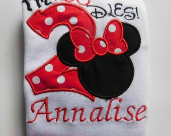 """Personalized embroidered Minnie """"I'm twodles"""" birthday shirt"""