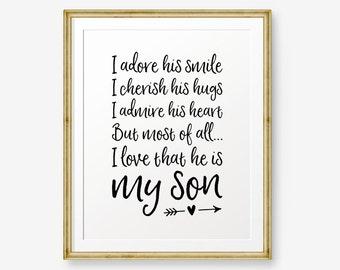 I Adore His Smile, I Love that He is My Son, Nursery Art, Children Decor, Boy Room Art, Little boy decor, Baby shower gift, Bedroom Decor